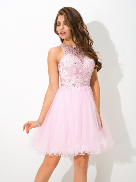 A-Line/Princess Sheer Neck Beading Short Net Cocktail Dress