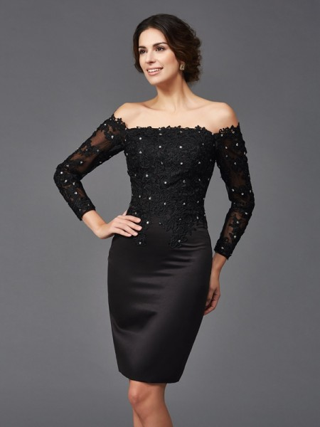 Sheath/Column Lace Long Sleeves Short Satin Mother of the Bride Dress