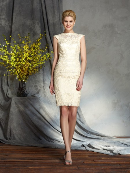 Sheath/Column Bateau Short Elastic Woven Satin Mother of the Bride Dress