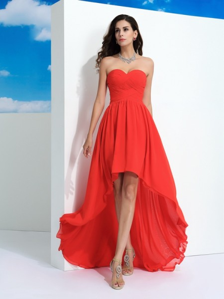 A-Line/Princess Sweetheart Pleats High Low Chiffon Dress