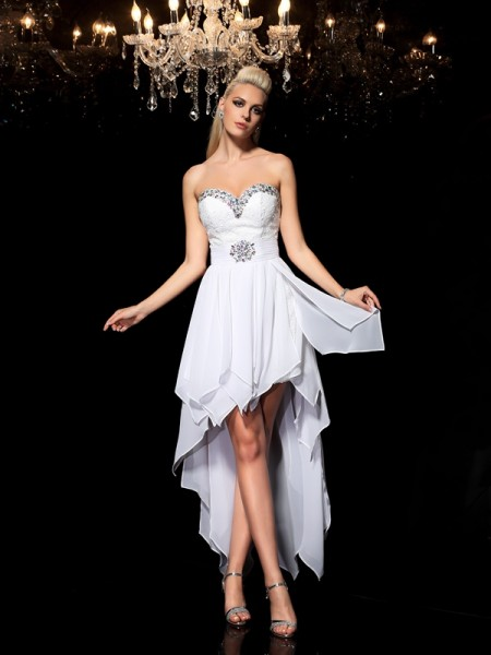A-Line/Princess Sweetheart Beading High Low Chiffon Cocktail Dress