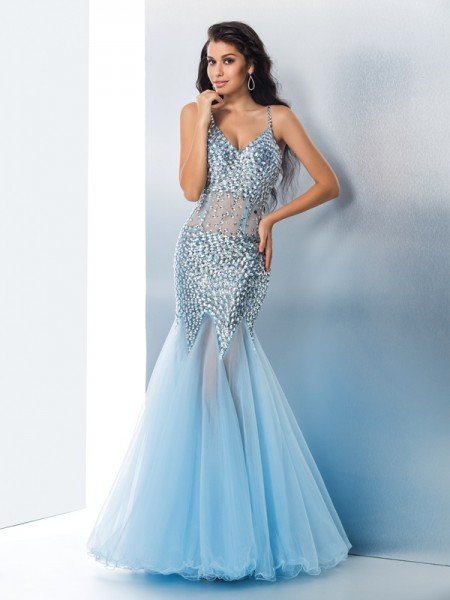 Trumpet/Mermaid Spaghetti Straps Sequin Long Tulle Dress
