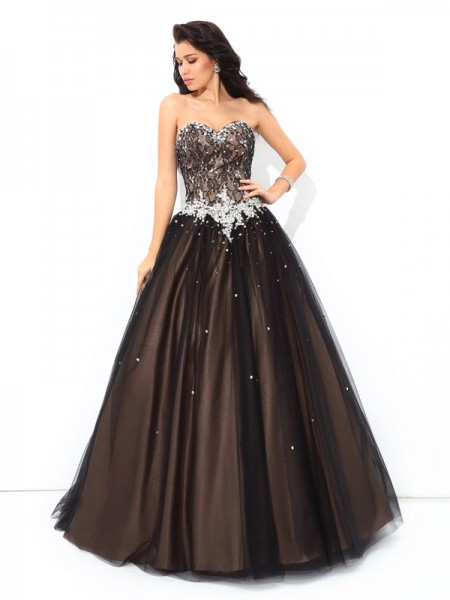 Ball Gown Sweetheart Beading Long Net Quinceanera Dress