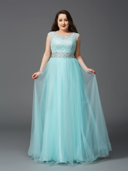 A-Line/Princess Scoop Rhinestone Net Plus Size Dress