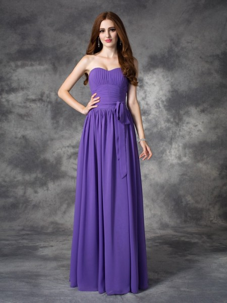 A-line/Princess Sweetheart Ruffles Chiffon Bridesmaid Dress