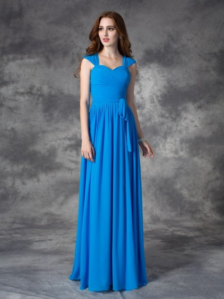 A-line/Princess Straps Ruffles Chiffon Bridesmaid Dress