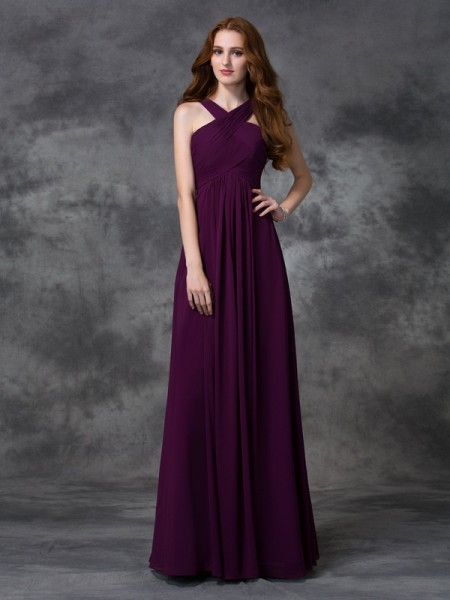 A-line/Princess Straps Ruched Chiffon Bridesmaid Dress
