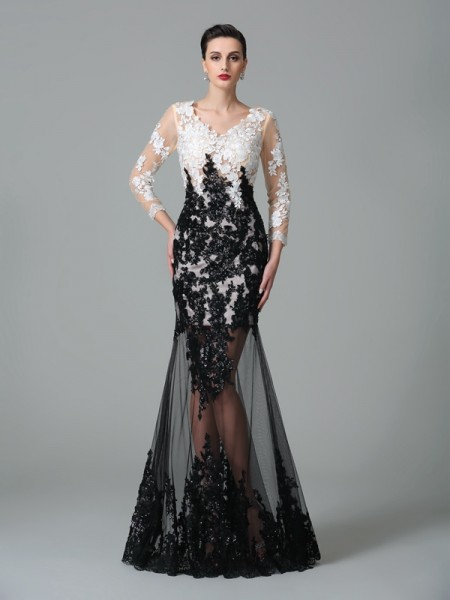 Sheath/Column V-neck Lace 3/4 Sleeves Long Net Dress