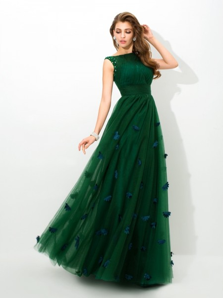 A-Line/Princess Sheer Neck Beading Long Net Dress