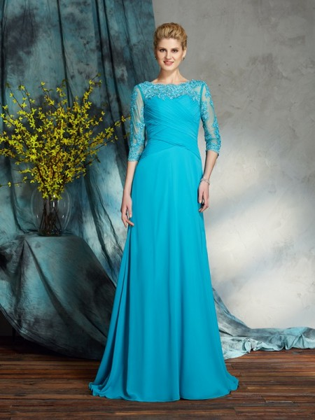 A-Line/Princess Bateau Applique 3/4 Sleeves Chiffon Mother of the Bride Dress