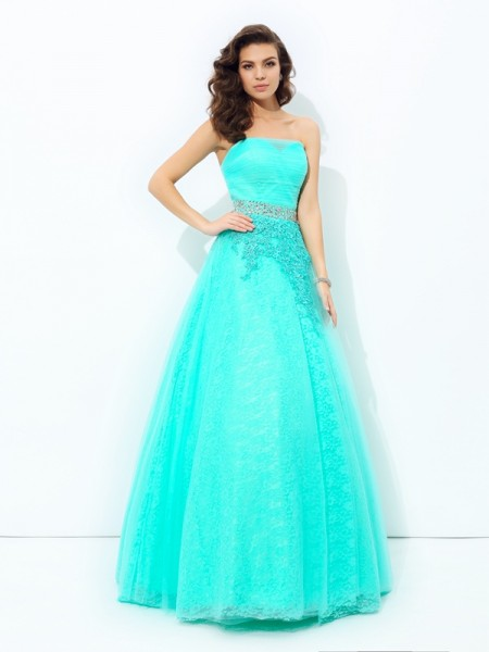 A-line/Princess Strapless Beading Elastic Woven Satin Dress