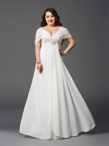 A-Line/Princess Ruched Short Sleeves Chiffon Plus Size Dress