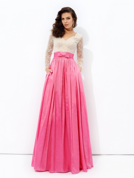 A-line/Princess V-neck Lace Long Sleeves TaffetaDress