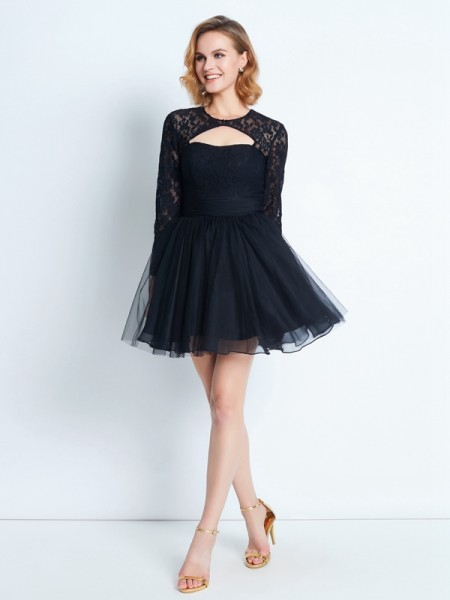 A-Line/Princess High Neck Long Sleeves Lace Short/Mini Net Dress