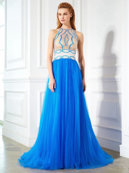 A-Line/Princess Jewel Floor-Length Net Dress