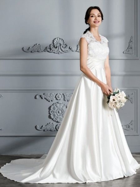 Ball Gown V-neck Sleeveless Court Train Satin Wedding Dress
