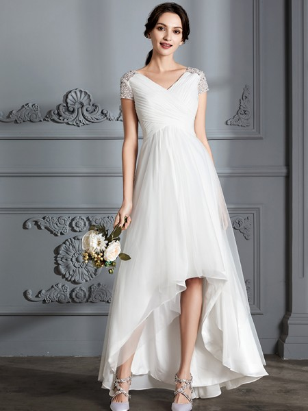 A-Line/Princess V-neck Short Sleeves Asymmetrical Tulle Wedding Dress