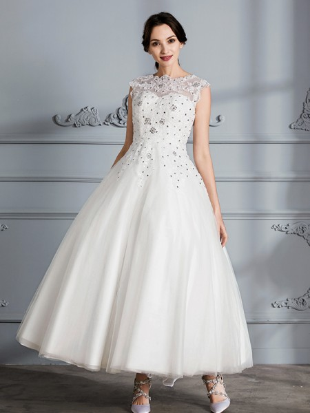 Ball Gown Scoop Sleeveless Tea-Length Tulle Wedding Dress