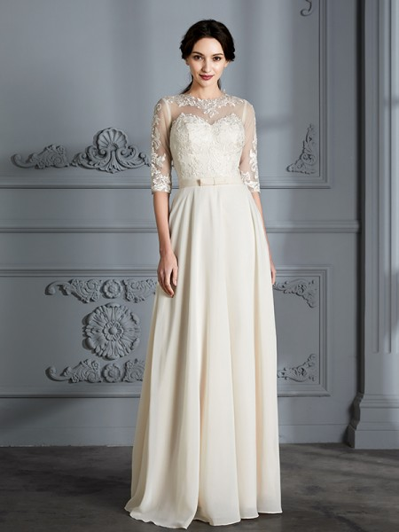A-Line/Princess Scoop 1/2 Sleeves Long Chiffon Wedding Dress