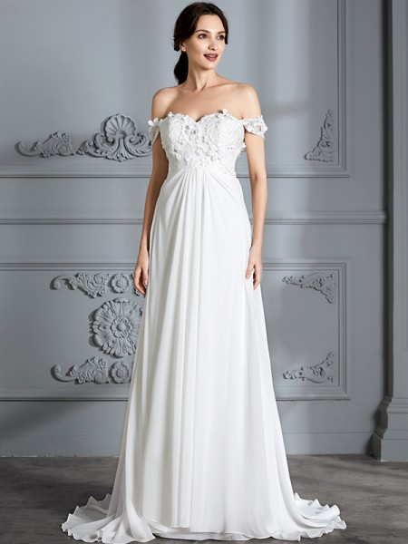 A-Line/Princess Off-the-Shoulder Sleeveless Chiffon Long Wedding Dress