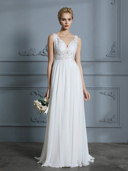 A-Line/Princess Sleeveless Sweep/Brush Train V-neck Chiffon Wedding Dress
