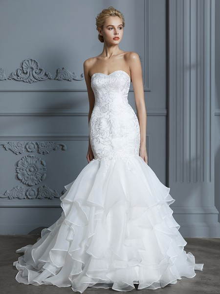 Trumpet/Mermaid Sweetheart Sleeveless Ruffles Organza Sweep/Brush Train Wedding Dress