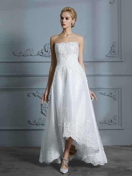 A-Line/Princess Sweetheart Sleeveless Beading Asymmetrical Tulle Wedding Dress