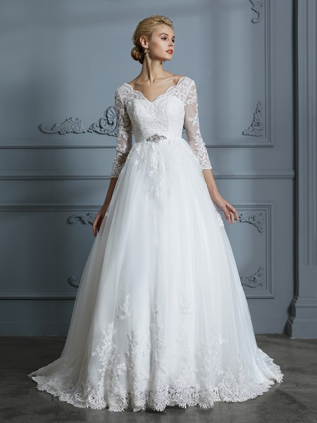 Ball Gown V-neck 3/4 Sleeves Court Train Lace Tulle Wedding Dress