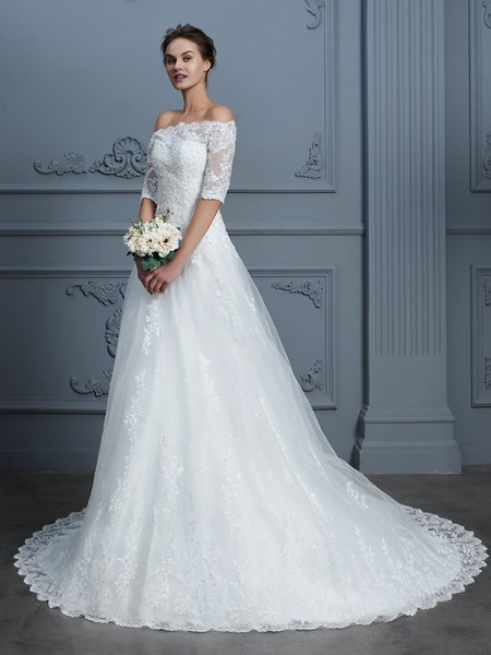 Ball Gown Off-the-Shoulder 1/2 Sleeves Beading Court Train Lace Wedding Dress