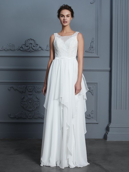 A-Line/Princess Scoop Sleeveless Ruffles Long Chiffon Wedding Dress