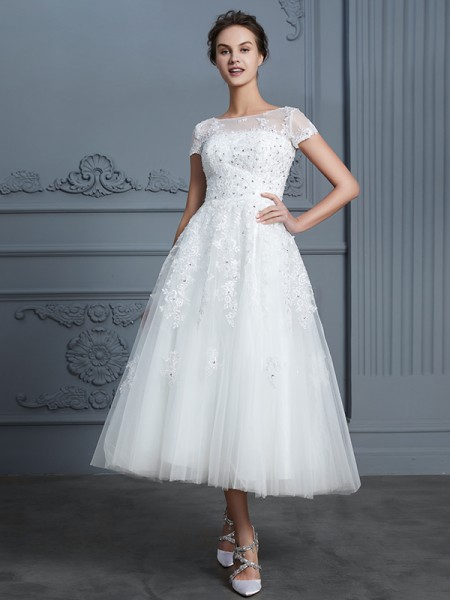 A-Line/Princess Scoop Short Sleeves Tea-Length Beading Tulle Wedding Dress