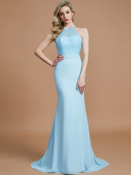 Trumpet/Mermaid Scoop Sweep/Brush Train Chiffon Bridesmaid Dresses