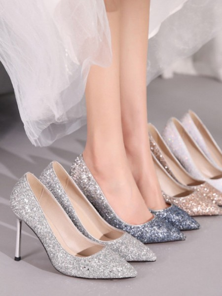 Ladies's Sparkling Glitter Closed Toe Stiletto Heel High Heels