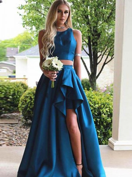A-Line/Princess Sleeveless Scoop Sweep/Brush Train Ruffles Satin Two Piece Dress