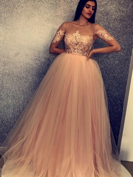 Ball Gown Short Sleeves Scoop Sweep/Brush Train Tulle Dress