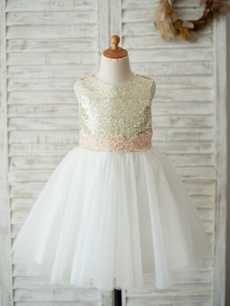 A-Line/Princess Sequin Tulle Scoop Sleeveless Knee-Length Flower Girl Dress