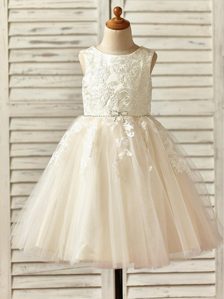 A-Line/Princess Knee-Length Scoop Lace Sleeveless Tulle Flower Girl Dress