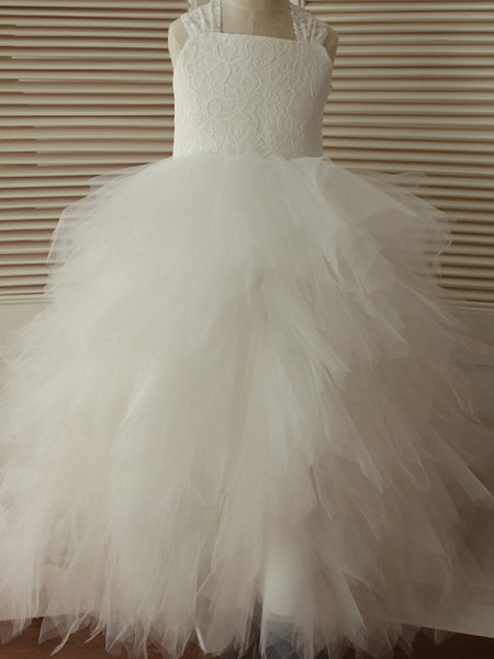 A-Line/Princess Ankle-Length Straps Lace Sleeveless Tulle Flower Girl Dress
