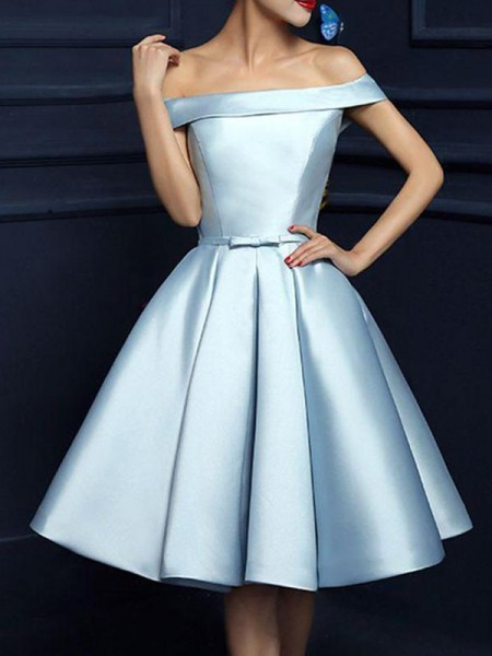 A-Line Satin With Bowknot Sleeveless Knee-Length Dress