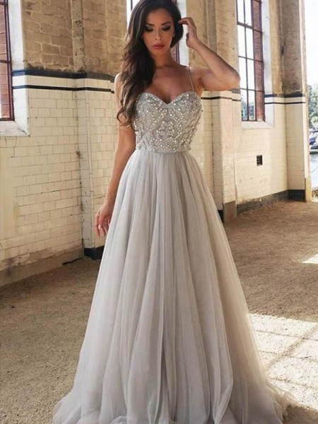 A-Line/Princess Sleeveless Spaghetti Straps Sweep/Brush Train Tulle Beading Dress