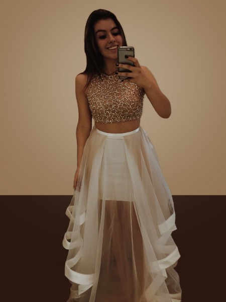 A-Line/Princess Sleeveless Halter Long Beading Organza Two Piece Dress