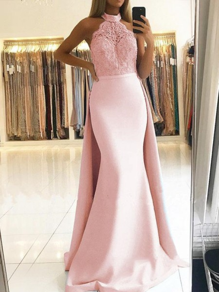 Trumpet/Mermaid Sleeveless Halter Sweep/Brush Train Lace Satin Dress