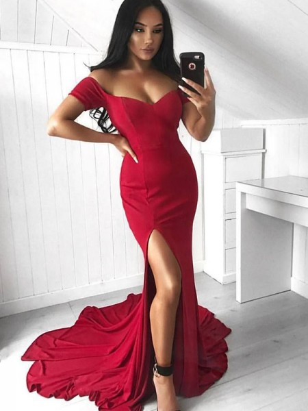 Trumpet/Mermaid Sleeveless Off-the-Shoulder Court Train Ruffles Dress