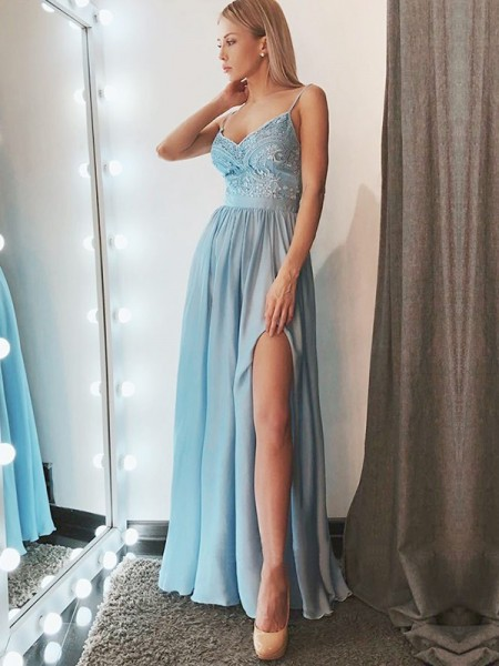 A-Line/Princess Sleeveless Spaghetti Straps Long Lace Chiffon Dress