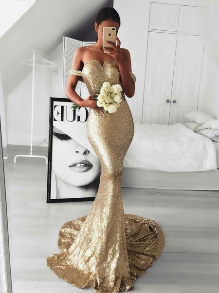 Trumpet/Mermaid Sleeveless Off-the-Shoulder Sweep/Brush Train Ruffles Sequins Dress