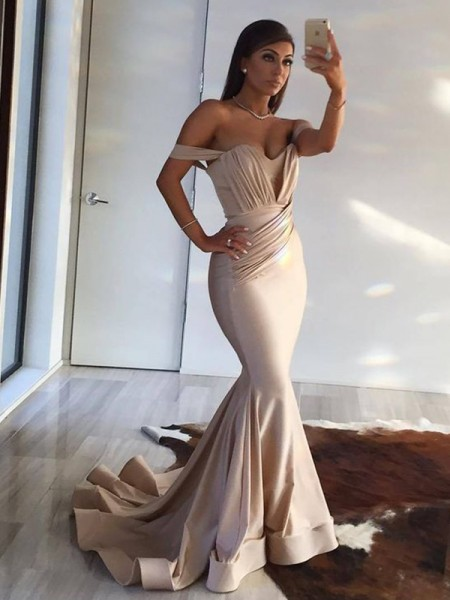 Trumpet/Mermaid Sleeveless Off-the-Shoulder Sweep/Brush Train Ruffles Spandex Dress