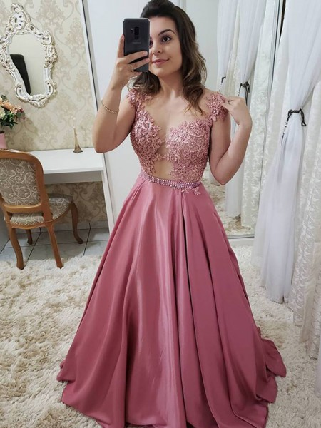 A-Line/Princess Sleeveless Scoop Long Satin Dress