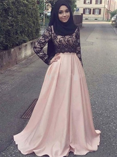 A-Line/Princess Long Sleeves Sweep/Brush Train Satin Muslim Dress