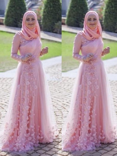 A-Line/Princess Long Sleeves Sweep/Brush Train Tulle Muslim Dress