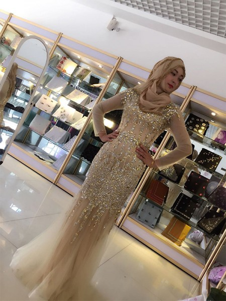 Sheath/Column Long Sleeves Long Sequin Tulle Muslim Dress